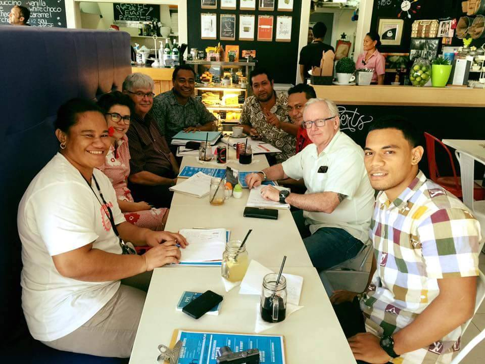 The MUA's Mick Doleman (second from right) and APHEDA Pacific Organiser Katie Hepworth (second from left) meet up with the Samoa First Union crew