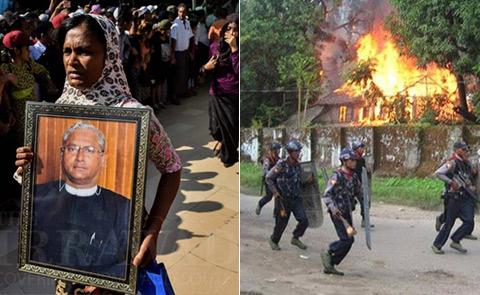 Women carries portrait of slain lawyer U Ko Ni; Soldiers in Rakhine/Arakan State