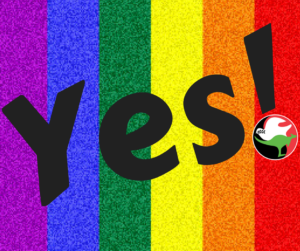 Yes marriage equality APHEDA logo